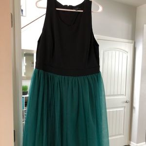 Eloquii Green and black tulle ruffle dress